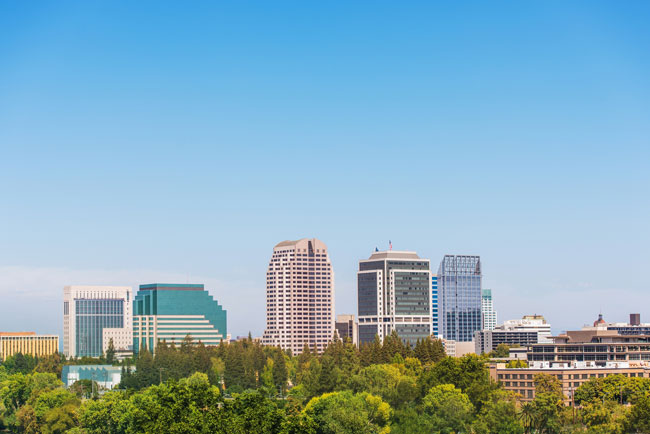 View of the skyline of the City of Sacramento